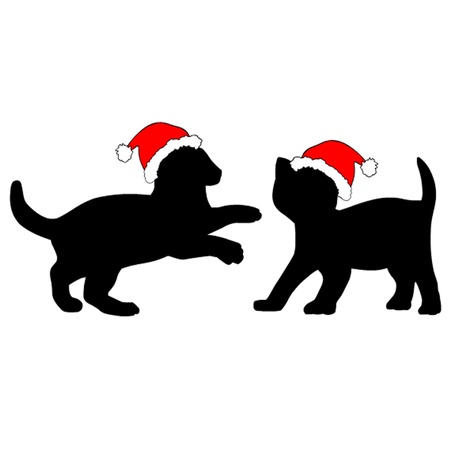 Two Kittens in Christmas Hats  Vector