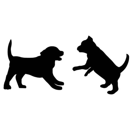 dogs play: Puppies Playing Illustration