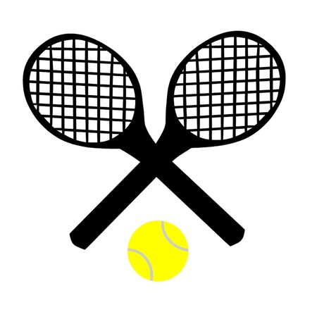hard court: Tennis Rackets and Tennis Ball Illustration