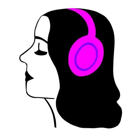Girl Wearing Headphones Stock Vector - 17831670