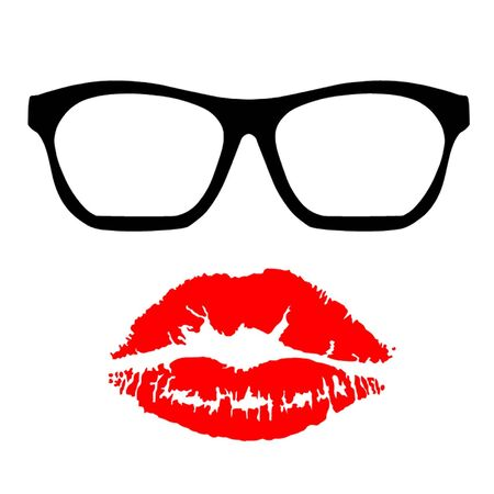 Nerd Glasses and Kiss Stock Vector - 19151849