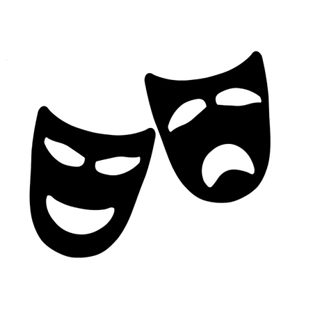 william shakespeare: Tragedy and Comedy Theater Masks Illustration