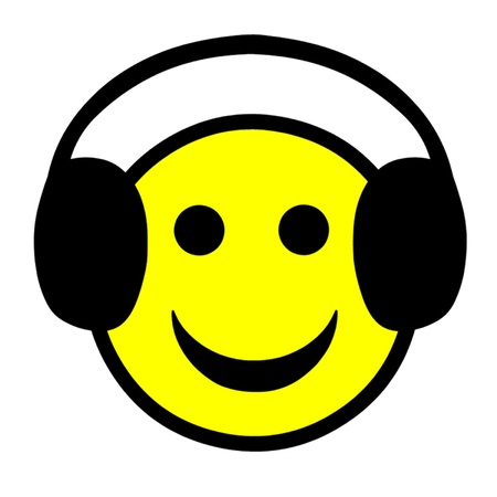 Smiley Face Wearing Headphones Stock Vector - 21937369