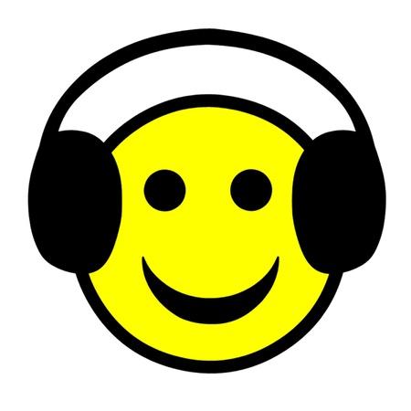 Smiley Face Wearing Headphones Stock Vector - 21937369