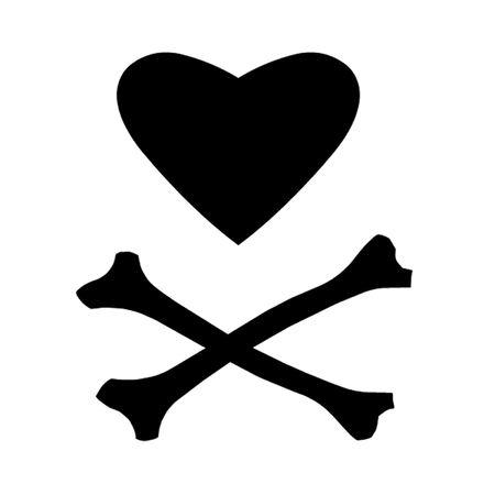 cross bones: Coraz�n y huesos cruzados Vectores