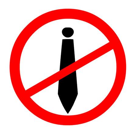 entrepreneurship: Entrepreneurship, tie in a banned sign   Illustration