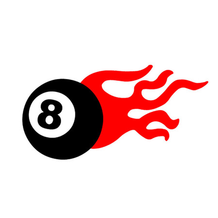 pocket billiards: Eight ball and flames