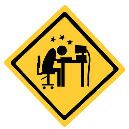frustration: Overworked man head butts a computer