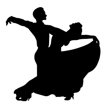 A Couple Ballroom Dancing Illustration