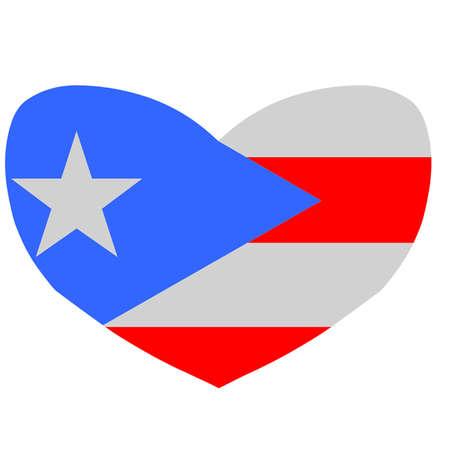 bandera de puerto rico: Bandera de Puerto Rico en forma de corazón Vectores