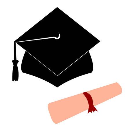 University Graduation Hat and Diploma Stock Vector - 26154307