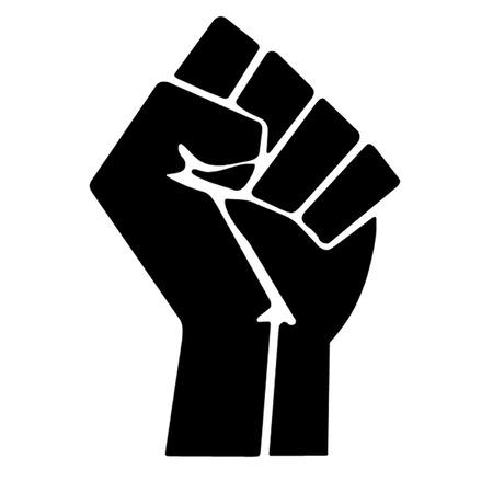 El puño en alto simboliza la revolución y la rebeldía, que es utilizado por diversos movimientos, incluyendo el poder negro y ocupan Ilustración de vector