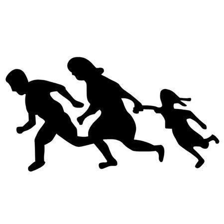 immigrants: Running Family   Running Immigrants Sign Illustration