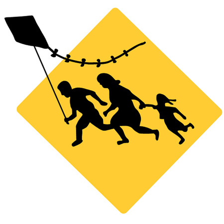 immigrant: Running Immigrant Family Flying a Kite Sign