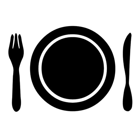 caf: Knife, fork and plate.