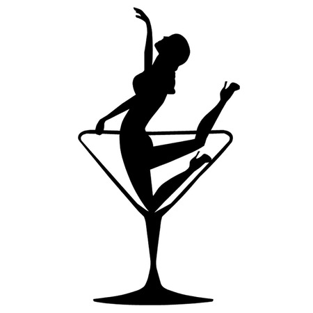exotic dancer: Girl in a Cocktail Glass Illustration