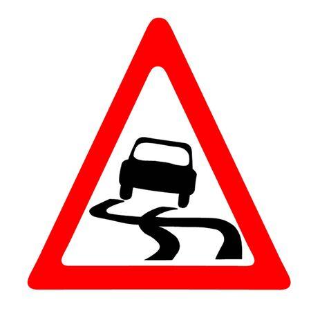 slippery: Slippery Road Symbol Illustration