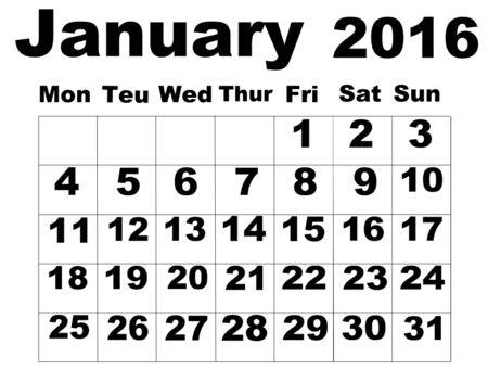 organise: January 2016 Calendar