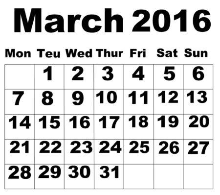organise: March 2016 Calendar