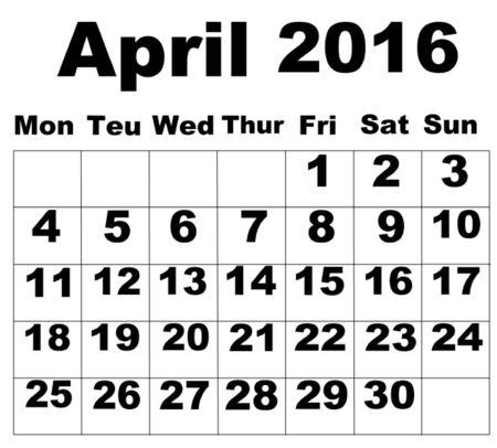 organise: April Calendar 2016 Illustration
