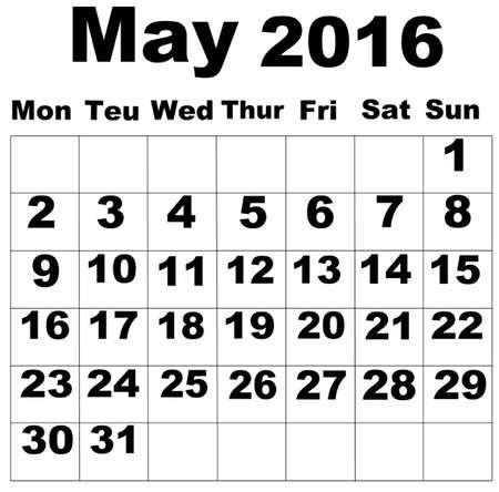organise: May Calendar 2016