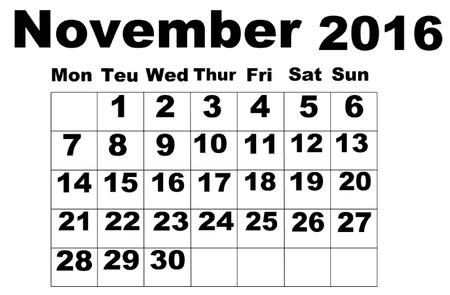 organise: November Calendar 2016 Illustration