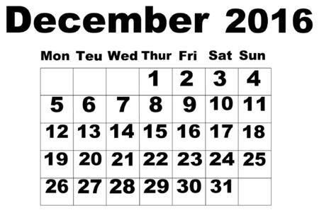 organise: December 2016 Calendar