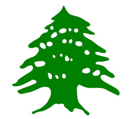 Verde Cedro del Líbano Cedro Ilustración de vector