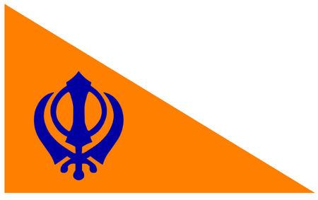 sikh: The Nishan Sahib, Sikh Flag. Illustration
