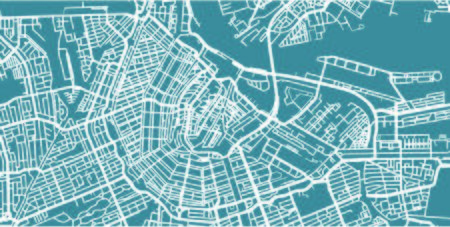 Detailed map of Amsterdam, scale 1:30 000 in the Netherlands