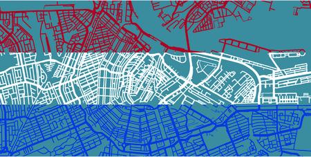 Detailed vector map of Amsterdam based on national flag of Netherlands, scale 1:30 000, Netherlands