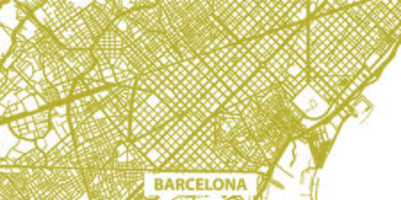 Detailed map of Barcelona in gold with title, scale 1:30 000, Catalonia Illustration