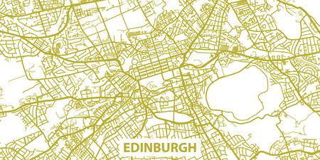 タイトルの金でエジンバラの詳細地図スケール 1:30 000 のスコットランド  イラスト・ベクター素材