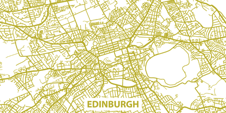 Detailed map of Edinburgh in gold with title, scale 1:30 000 in Scotland Illustration