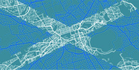 Detailed map of Edinburgh based on national flag of Scotland, scale 1:30 000