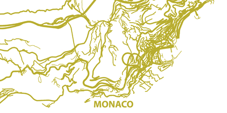 Detailed map of Monaco in gold with title, scale 1:30 000
