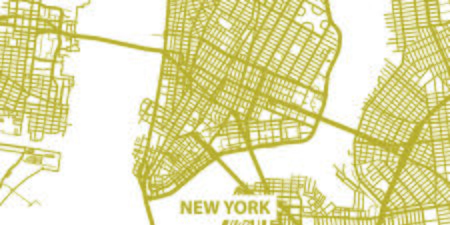 Detailed map of New York in gold with title, scale 1:30 000 in USA.