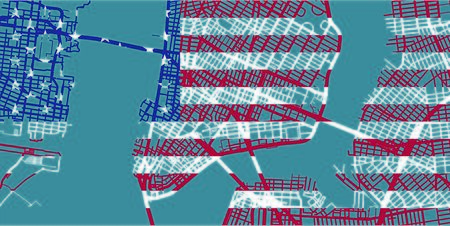 Detailed map of NYC, New York based on national flag of the United States, scale 1:30 000 Illustration