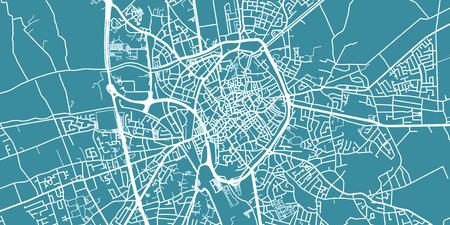 Detailed vector map of Bruges, scale 1:30 000, Belgium Illustration