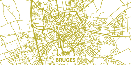 Detailed vector map of Bruges in gold with title, scale 1:30 000, Illustration