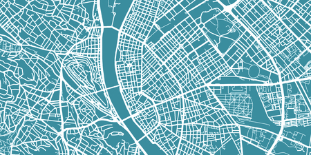 Detailed vector map of Budapest, scale 1:30 000, Hungary