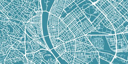 Gedetailleerde vectorkaart van Boedapest, schaal 1:30 000, Hongarije
