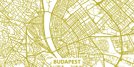 Detailed vector map of Budapest in gold with title, scale 1:30 000, Hungary