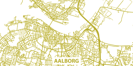Detailed vector map of Aalborg in gold with title, scale 1:30 000, Illustration