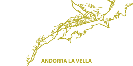 Detailed vector map of Andorra la Vella in gold with title, scale 1:30 000, Andorra