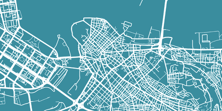 Detailed vector map of Belgrade, scale 1:30 000, Serbia