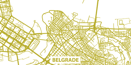 Detailed vector map of Belgrade in gold with title, scale 1:30 000, Serbia