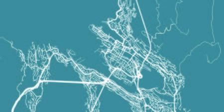 Detailed vector map of Bergen, scale 1:30 000, Norway