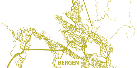 Detailed vector map of Bergen in gold with title, scale 1:30 000, Illustration