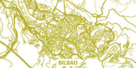 Detailed vector map of Bilbao in gold with title, scale 1:30 000, Spain